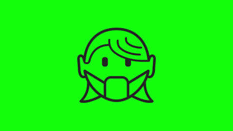 Transparent mask wearing face wearing woman flat mask covid coronavirus face woman coronavirus mask Animation