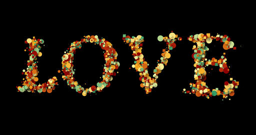 colorful bokeh love word shape write on black background, valentine day holiday event Live Action