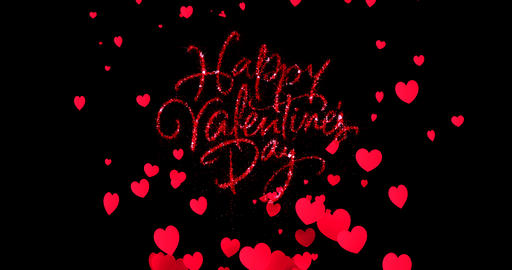 red sparkle glitter happy valentine day word shape with red heats shape rise flowing on black Live Action
