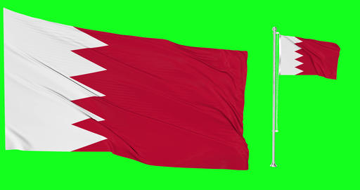 Two flags waving Bahrain waving gulf waving flagpole national Bahrain national gulf national flags Animation