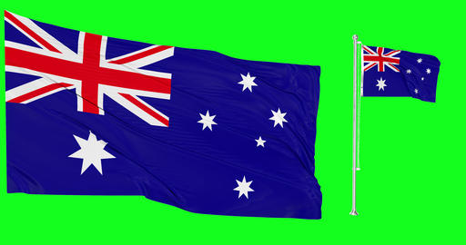 Australia green screen two flags green screen waving green screen Australia australian flagpole Animation