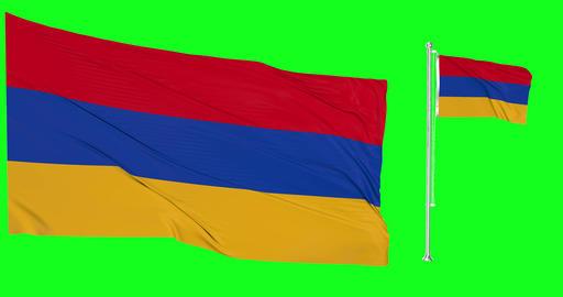 Two flags waving Armenia waving armenian waving flagpole national Armenia national armenian national Animation