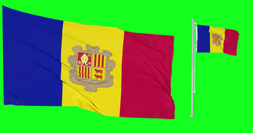 Two flags waving Andorra waving andorran waving flagpole national Andorra national andorran national Animation