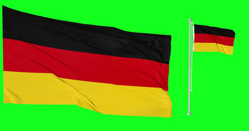 Two flags waving Germany waving german waving flagpole national Germany national german national Animation