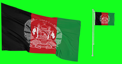 Two flags waving Afghanistan waving afghani waving flagpole national Afghanistan national afghani Animation