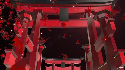 Torii momiji shrine temple loop animation Animation