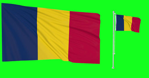 Two flags waving Chad waving chadian waving flagpole national Chad national chadian national flags Animation