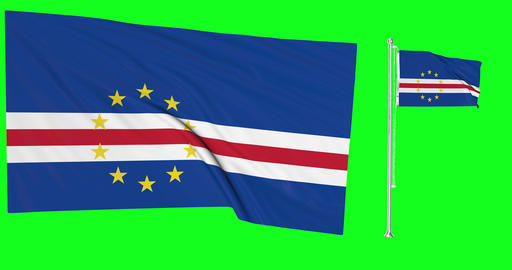 Two flags waving Cape Verde waving Cabo waving flagpole national Cape Verde national Cabo national Animation