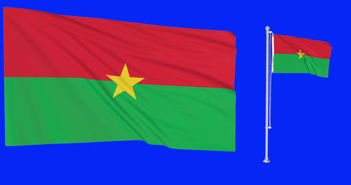 Two flags waving Burkina Faso waving burkinabe waving flagpole national Burkina Faso burkinabe Animation