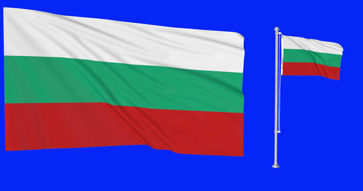 Two flags waving Bulgaria waving bulgarian waving flagpole national Bulgaria national bulgarian Animation