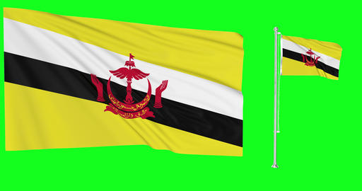 Two flags waving Brunei waving bruneian waving flag national Brunei national bruneian national Animation