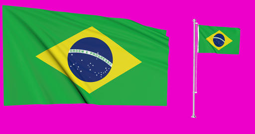Two brazil Animation 3d Flagpole Green Screen brazil Waving Flag Waving Green Screen Waving brazil Animation