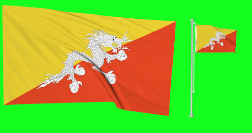 Two flags waving Bhutan waving bhutanese waving flagpole national Bhutan national bhutanese national Animation