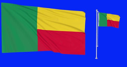 two flags waving Benin waving beninese waving flag national Benin national beninese national Animation