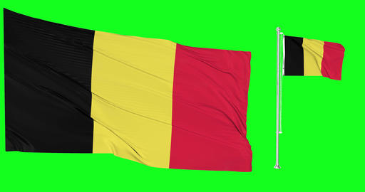 Two flags waving Belgium waving belgian waving flagpole national Belgium national belgian national Animation