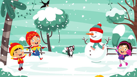 Children Playing Outside In Winter Animation