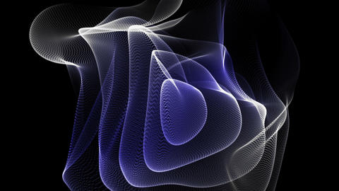 Fantastic video animation with particle wave object in motion, loop HD Animation