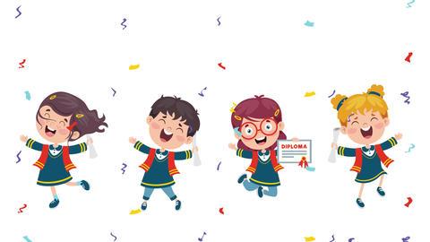 Cartoon Happy Kids In Graduation Costume Animation