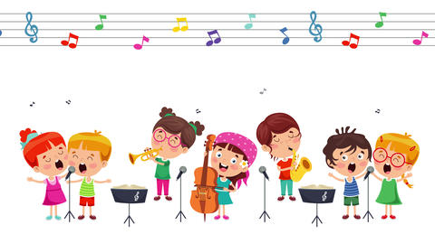Funny Little Kids Performing Music Animation