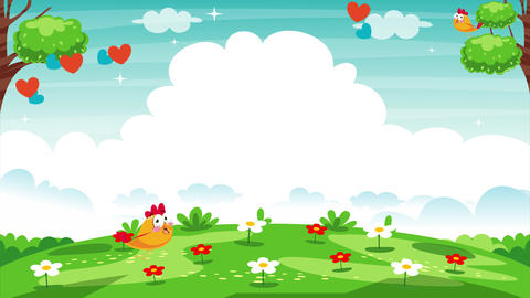 Nature Background With Colorful Flowers Animation