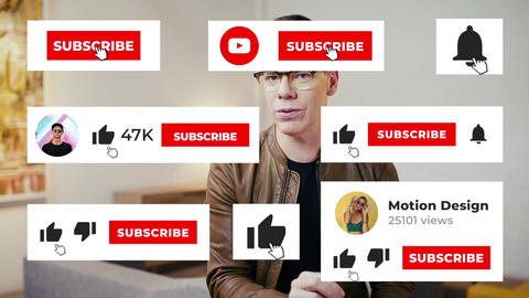 YouTube Subscribe Like Notification Apple Motion Template