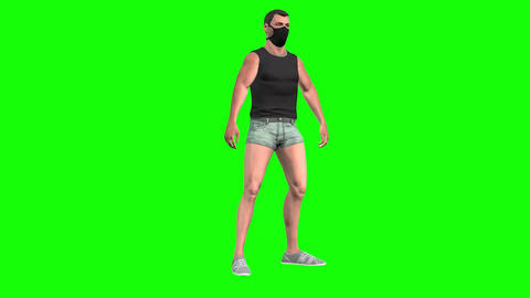 899 HD LIFE IN MASKS 3D animated man in mask makes exercise Animation