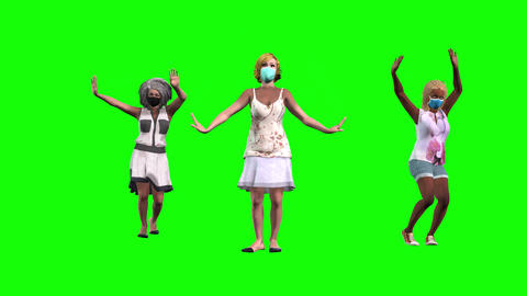 900 HD PARTY IN PANDEMIC 3D animated three different girls emjoy party Animation