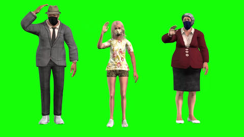 895 HD FAMILY AND PANDEMIC 3d Family in face masks standing and waving the girl starts to walk Animation