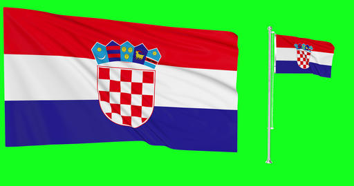 Croatia green screen two flags green screen waving green screen Croatia croatian flagpole croatian Animation