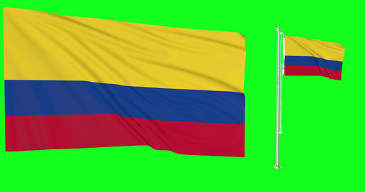Colombia green screen two flags green screen waving green screen Colombia colombian flagpole Animation