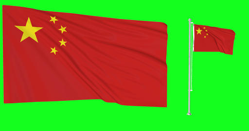 Two flags waving China waving flag national chinese national China national flagpole green screen Animation
