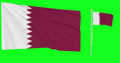 Two flags waving Qatar waving arab waving flagpole national Qatar national arab national flags green Animation