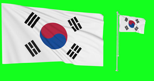 South Korea green screen two flags green screen waving green screen South Korea korean flagpole Animation