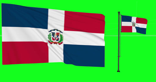 Two flags waving Dominican Republic waving dominican waving flagpole national Dominican Republic Animation