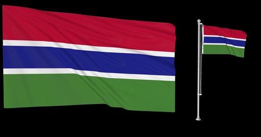 Two flags waving Gambia waving gambian waving flagpole national Gambia national gambian national Animation
