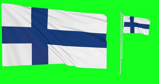Two flags waving Finland waving finnish waving flagpole national Finland national finnish national Animation