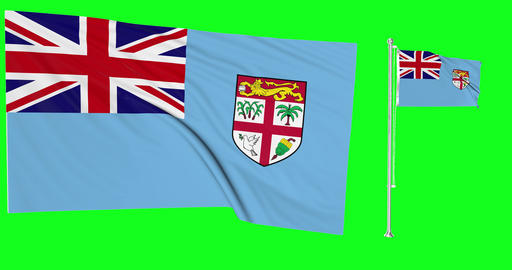 Two flags waving Fiji waving fijian waving flagpole national Fiji national fijian national flag Animation