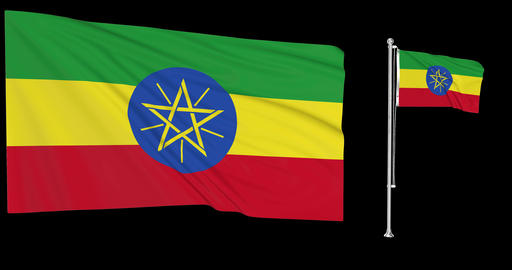 Two flags waving Ethiopia waving ethiopian waving flag national Ethiopia national ethiopian national Animation