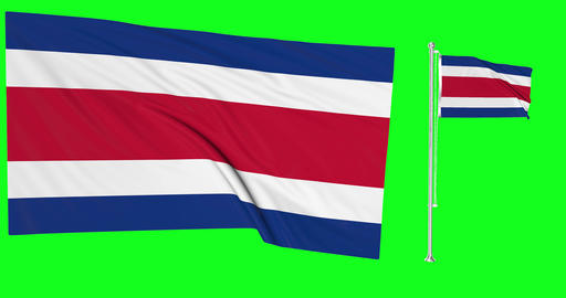 Two flags waving Costa Rica waving flag national ricans national Costa Rica national flagpole green Animation