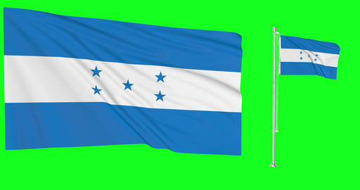 Two flags waving Honduras waving honduran waving flagpole national Honduras national honduran Animation