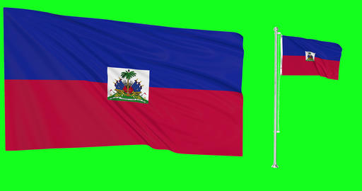 Two flags waving Haiti waving haitian waving flagpole national Haiti national haitian national flag Animation