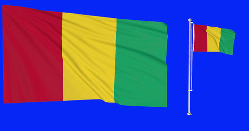 Two flags waving Guinea waving guinean waving flagpole national Guinea national guinean national Animation