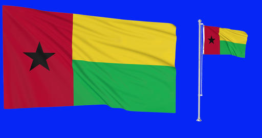Two flags waving Guinea Bissau waving guinean waving flagpole national Guinea Bissau national Animation