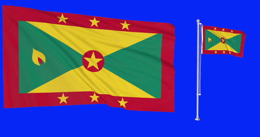 Two flags waving Grenada waving island waving flagpole national Grenada national island national Animation