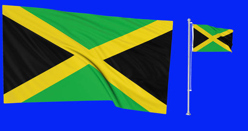 Two flags waving Jamaica waving jamaican waving flagpole national Jamaica national jamaican national Animation