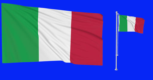 italy two Flags Green Screen italy Waving Flagpole Waving Green Screen Waving italy 4k Flag 4k Green Animation