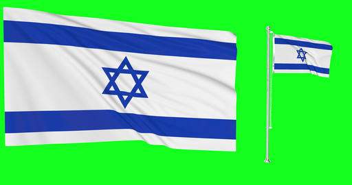 Two flags waving Israel waving israeli waving flagpole national Israel national israeli national Animation