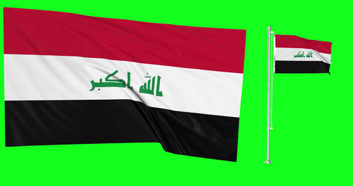 Two flags waving Iraq waving iraqi waving flagpole national Iraq national iraqi national flag green Animation