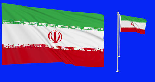 Two flags waving Iran waving iranian waving flagpole national Iran national iranian national flag Animation