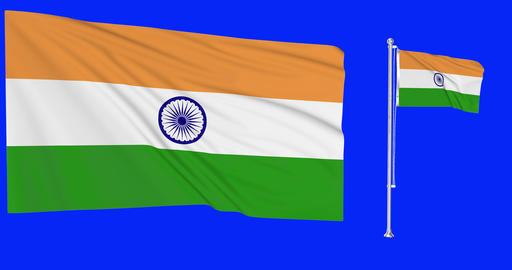 Two flags waving India waving indian waving flagpole national India national greek national flag Animation